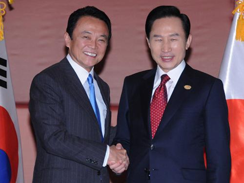 10月24日のできごと(何の日)【麻生太郎首相】韓国・李明博大統領と会談
